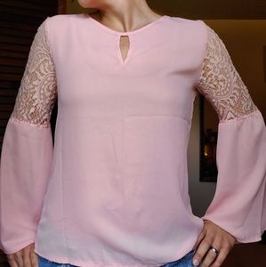 Tops - Pink, sheer blouse with bell sleeves